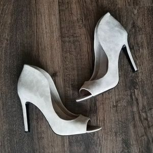 Vince Camuto Grey Suede Peep Toe Heels